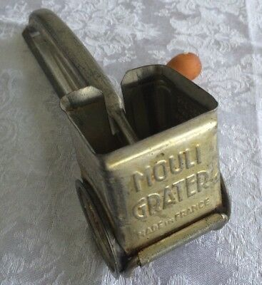 Vtg MOULI Rotary Cheese Nut Grater Red Wood Handle France Utensil