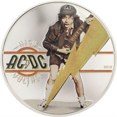AC/DC HIGH VOLTAGE - 2018 $2 1/2 oz Pure Silver Coin - Cook Islands - CIT