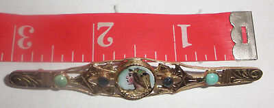 Exquisite Antique Victorian 18K Gold Bar Pin Enamel Portrait Egyptian Revival