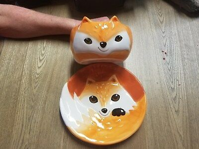 New Earthenware New Better Homes & Gardens Heritage Collections Fox Plate & Bowl