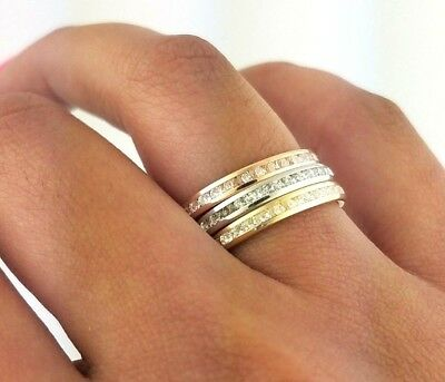 14k Eternity Band Solid Yellow Gold White Gold Rose Gold Diamond Stackable Ring