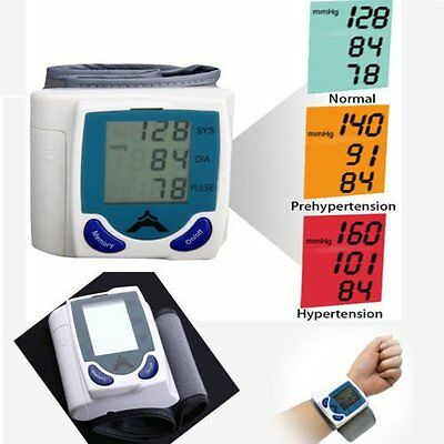 Digital LCD Wrist Blood Pressure Monitor Heart Beat Rate Meter Machine Pro AG