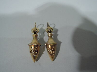 Antique Earrings - Pair of Victorian Etruscan Revival Drop - English 15K Gold