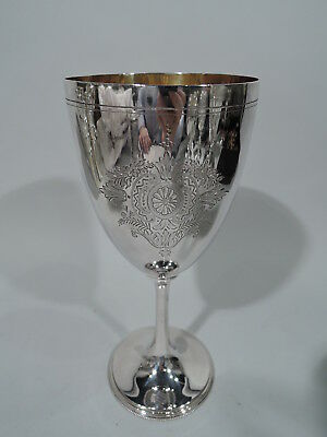 Victorian Goblet - Antique Tall Flowers Foliage - English Sterling Silver - 1884