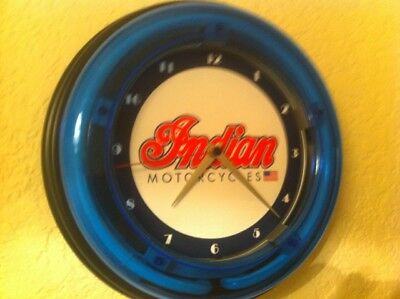 *** Indian Motorcycle ScriptLogo Garage Man Cave Blue Neon Wall Clock Sign