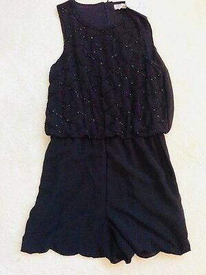 Brand New Girls Black Beaded Short Sleeveless Playsuit Age 11-12 years From BHS