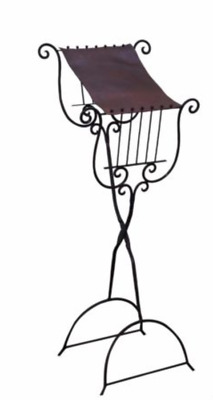 Antique Leather and Wrought Iron Lyre Music Stand