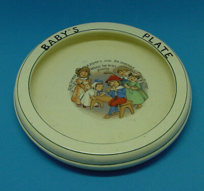 Antique Roseville Pottery Baby's Plate Dish Nursery Rhyme Tom The Pipers Son