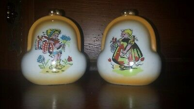 2 VINTAGE FARM BOY & GIRL Coin Purse GOLD Trim Porcelain Banks ~ HTF Pair