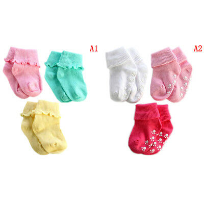 3 Pairs cotton baby boy girl cute solid toddler socks infant anti-slip so JX