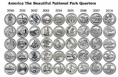 2010-2018  NATIONAL PARK 45 COIN QUARTER SET Philadelphia Mint inc. Block Island