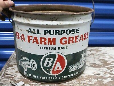 Vintage BA Farm Grease Wood Handle Pail Oil Can British American Tractor Truck
