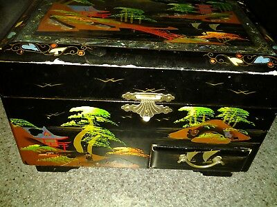 Vintage - Oriental - Black Lacquer Jewelry Music Box  - For Repair