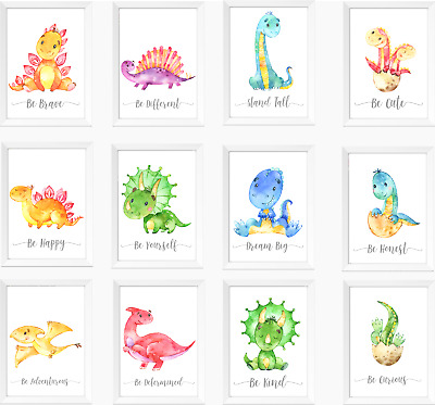 Dinosaur Nursery Prints Set, Baby Kids Room Dinosaurs Pictures Wall Art Decor