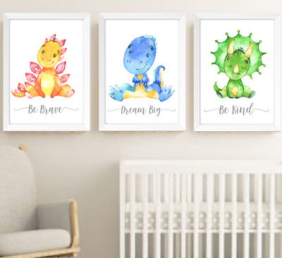 Cute Dinosaur Nursery Prints Set Of 3 Baby Boy Girl Room Pictures Wall Art Decor