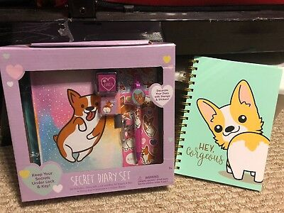 NWT Welsh Corgi Dog Secret Diary Set For Kids And Corgeous Notebook