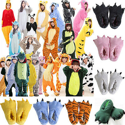 Kids Adults Kigurumi Pajamas Cosplay Costume Nightwear Sleepwear Slippers Shoes