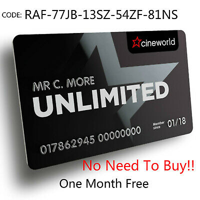 Cineworld Unlimited Card 1 MONTH Free& 10%off Food Code: RAF-77JB-13SZ-54ZF-81NS