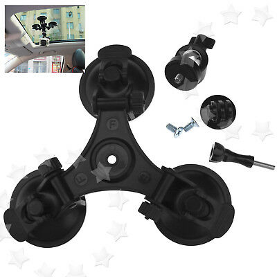 Triple Low Angle Suction Cup Mount Holder +Ball Head For Car Gopro 1 2 3 3+ 4