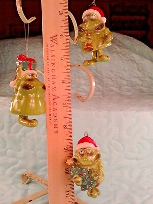 Lot of 3 Frog Christmas Ornament Bells With Dangling Legs Ceramic Santa Frogs