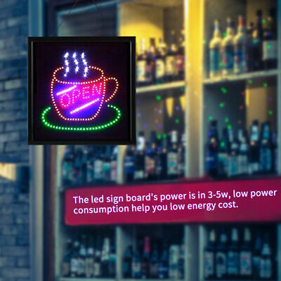 Large Led Open Sign Flashing Size 48x48CM Business Board Electric For Shop Cafe