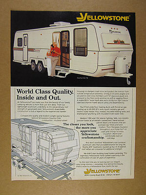 1982 Yellowstone Country Club Travel Trailer color photo vintage print Ad