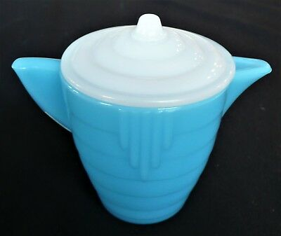 Akro Agate Small Stacked Disc Glass Turquoise Teapot & White Lid