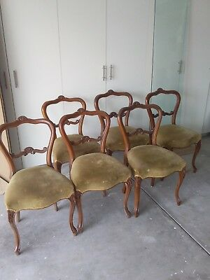 Victorian Dining Chairs x 6 and matching round table