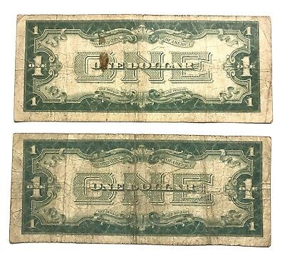 Collectible Lot of 2 1928 $1 U.S. FUNNY BACK Silver Certificates BLUE SEAL Notes