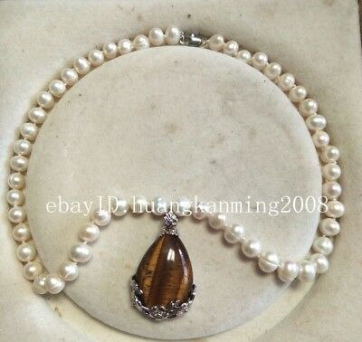 """8-9mm Natural White AKoya Pearl Tiger's Eye Silver Plated pendant Necklace 18"""""""