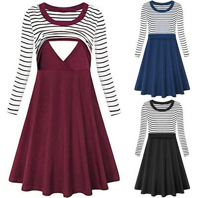 Women's Stripe Long Sleeve Flare Maternity Breastfeeding Nursing Dress UK