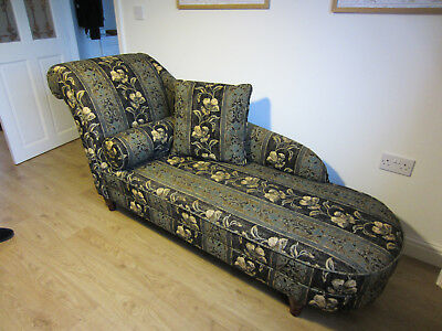 Chaise Longue, Vintage Victorian Style, Black, Green & Gold Fabric, Solid & VGC