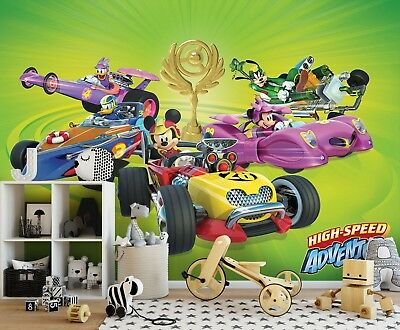 312x219cm (123x86in) Wall mural photo wallpaper Mickey Mouse Racing Donald Pluto