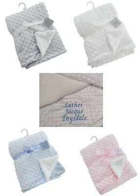Personalised  embroidered DELUXE BUBBLE MINX FLEECE BLANKET 4 COLOURS