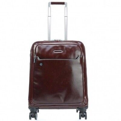 PIQUADRO BLAU SQUARE Trolley case with four wheels leather DARK BROWN