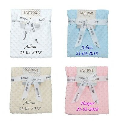 Personalised  embroidered BABY dimple  BLANKET 75CM-90CM 4 colors