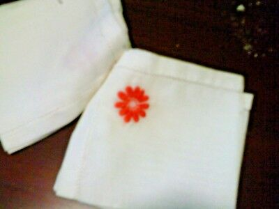 Handkerchief set of 2 embroidered orange flower vintage