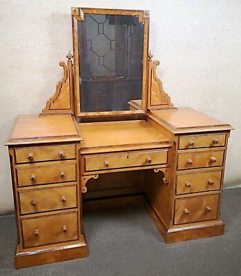 Victorian Satin Birch And Rosewood Dressing Table