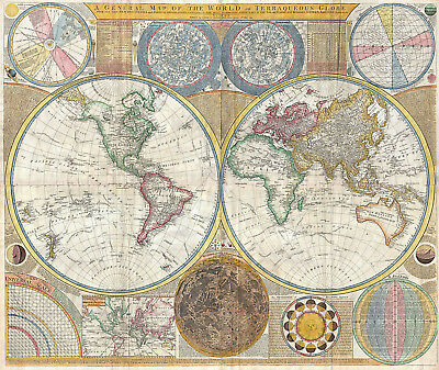 1794 Samuel Dunn Wall Map of the World in Hemispheres Home School Office Poster