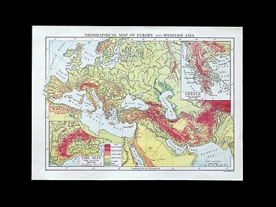 Vintage c1920s colour orographical map of Europe & w. Asia - 90 years old & VGC!
