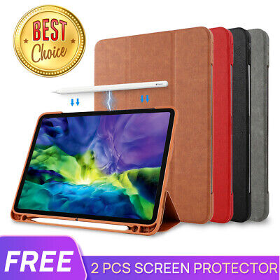 "F iPad Pro 9.7 10.5 11 12.9 iPad 7 10.2"" Leather Smart Case Cove Pencil Charging"