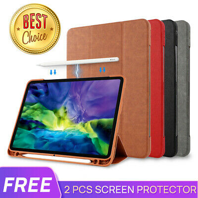Fr iPad Pro 9.7 10.5 11 12.9 2018 Mini 5 Leather Smart Case Cove Pencil Charging