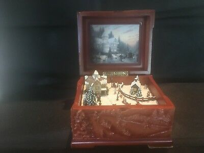 "Thomas Kinkade holiday music wooden box ""Jingle Bells"""