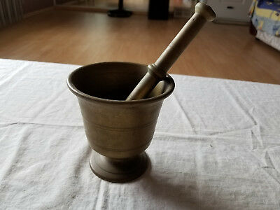 Antique Apothecary Solid Brass Etched Mortar And Pestle