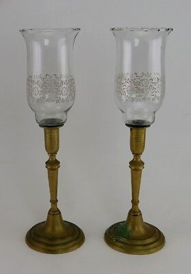 Antique Victorian Brass & Painted Glass Chimney Candle Holders Candlesticks