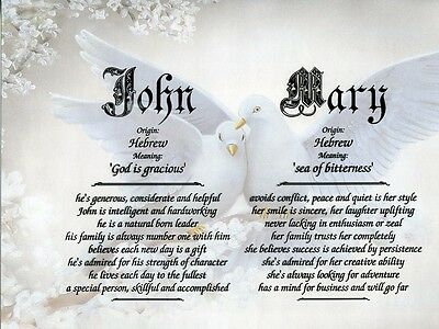 """""""Doves"""" Double Name Meaning Print Personalized (Love Romance)"""