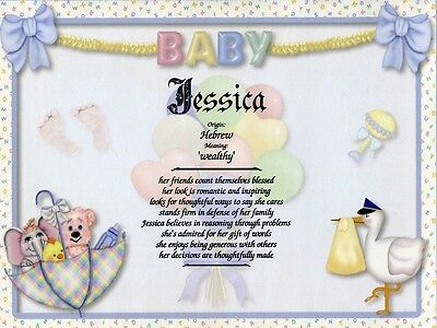 """""""New Baby 2"""" Name Meaning Print Personalized (Gift for Birth, Shower, Baptism)"""