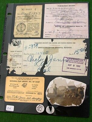 6 Documents Receipts Pay Stubs Telegraph Card  1920 s 1930 s