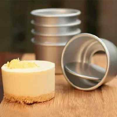 3Pcs 2inch Round Mini Cake Pan Removable Bottom Pudding Mold DIY Baking Tools