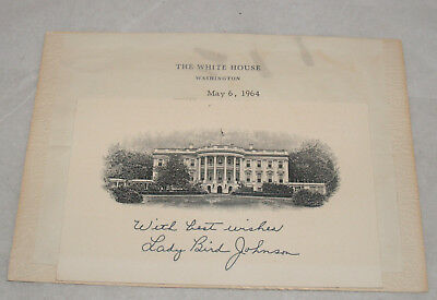 Vintage Lady Bird Johnson White House Note Letter Lyndon Johnson President